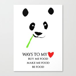 Ways to be in a panda's heart Canvas Print