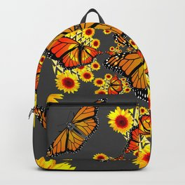 GREY COLOR SUNFLOWERS & MONARCH BUTTERFLY ABSTRACT Backpack