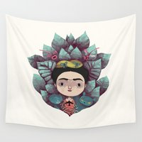 frida Wall Tapestries featuring frida by yohan sacre
