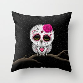 Adorable Pink Day of the Dead Sugar Skull Owl Throw Pillow