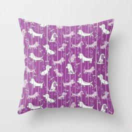 Modern Bassets Throw Pillow