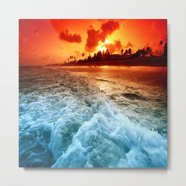 Ocean Beach Blaze Metal Print