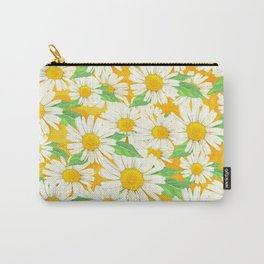 Profusion White Zinnia Flowers Carry-All Pouch