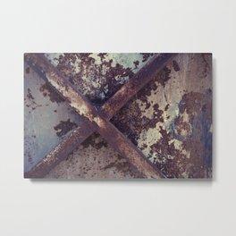 Rusty Metal Cross Metal Print