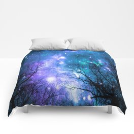 Black Trees Violet Teal Space Comforters