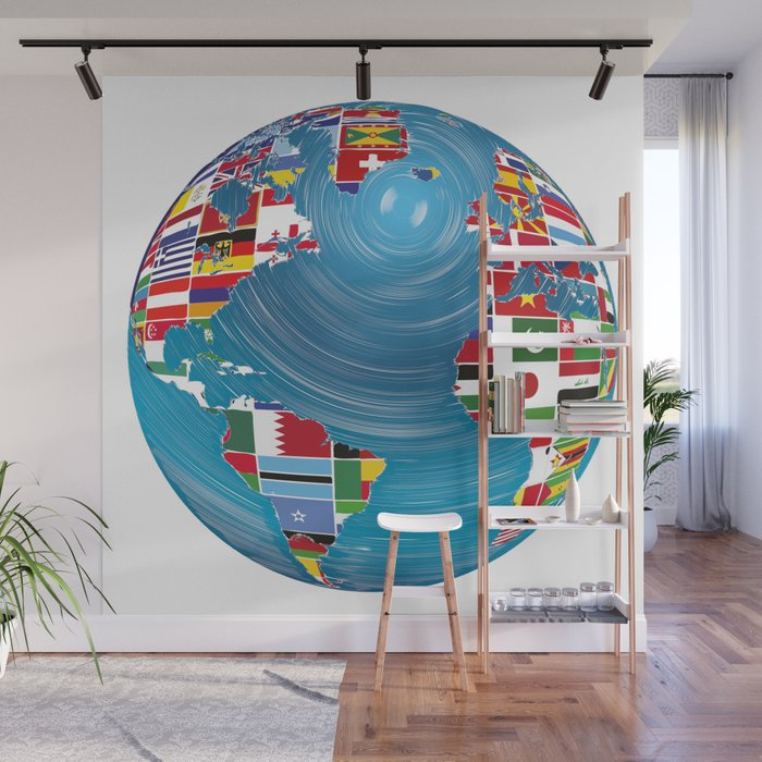 World Map Globe Atlas National Flags Earth Day Wall Mural by anziehend