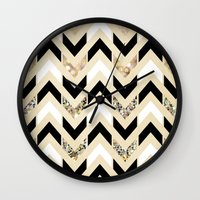 samsung Wall Clocks featuring Black, White & Gold Glitter Herringbone Chevron on Nude Cream by Tangerine-Tane