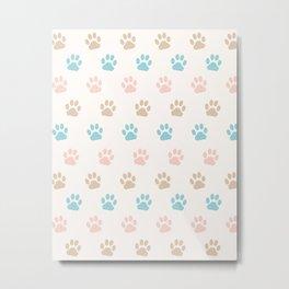 Cute Cat Paw Print Pattern – Pink Blue Brown and Cream Metal Print