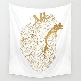 Heart Branches - Gold Wall Tapestry