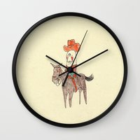 manatee Wall Clocks featuring Manatee Cowboy by withapencilinhand