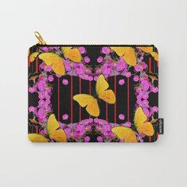Modern Pink Flowers Yellow Butterflies Black Color Garden Art Carry-All Pouch