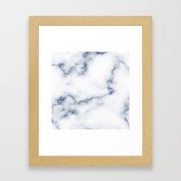 Marble White & Blue Framed Art Print