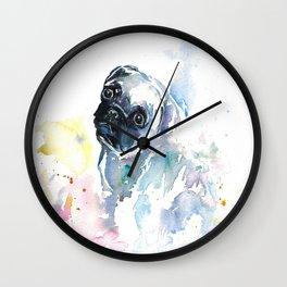 Pug Puppy in Splashy Watercolor Wall Clock