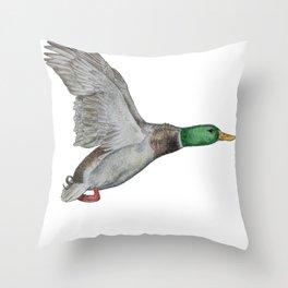 Flying Duck Throw Pillow