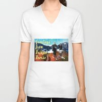 postcard V-neck T-shirts featuring Vintage Postcard by Bridget Beorse