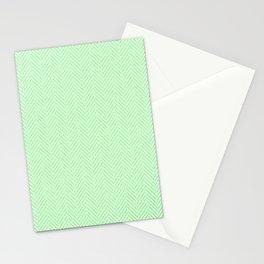 Classic Mint Green & White Herringbone Pattern Stationery Cards