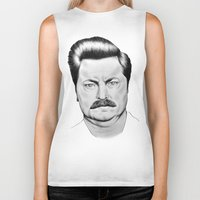 ron swanson Biker Tanks featuring Ron Swanson by 13 Styx