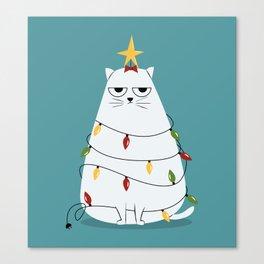 Grumpy Christmas Cat Canvas Print