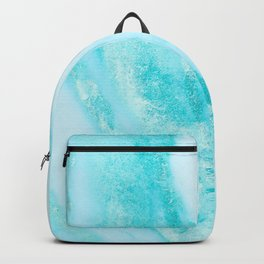 Shimmery Teal Ocean Blue Turquoise Marble Metallic Backpack