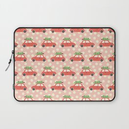 Red Vintage Holiday Christmas Cars Laptop Sleeve