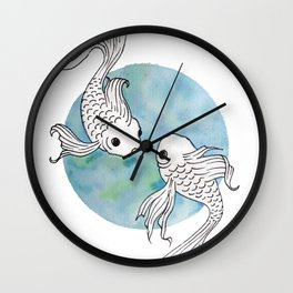 Pisces fish watercolor illustration Wall Clock