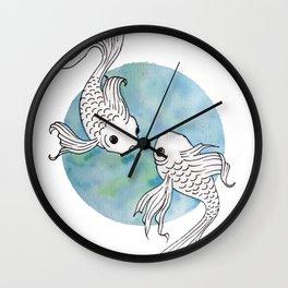 Pisces fish watercolor illustration Wall Clock