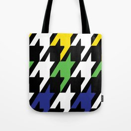 Jumbo Scale Masculine Colored Houndstooth Pattern Tote Bag