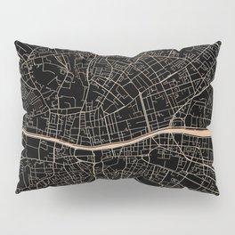 Gold and black Dublin map Pillow Sham