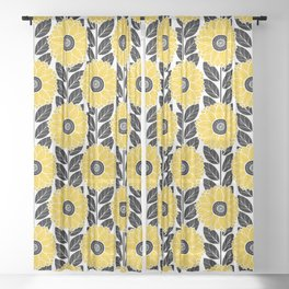 Sunflower Garden in Black and Yellow Sheer Curtain