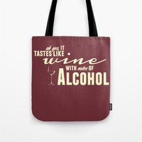 alcohol Tote Bags featuring NOTES OF ALCOHOL by Sandhill