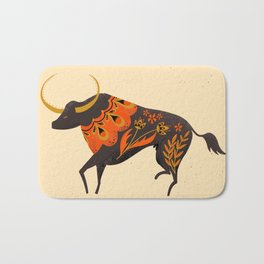 Bull Folk Art Illustration Bath Mat