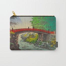Tsuchiya Koitsu Vintage Japanese Woodblock Print Red Bridge Carry-All Pouch