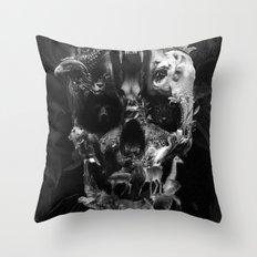 Kingdom Skull B&W Throw Pillow