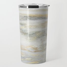 White Gold Marble Texture Travel Mug