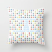30 seconds to mars Throw Pillows featuring Thirty Seconds To Mars ; Conquistador by Wis Marvin