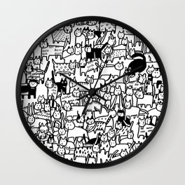 Crazy Cat Society Black and White Illustration Wall Clock