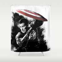 steve rogers Shower Curtains featuring Steve Rogers: Shadow Edition by NKlein Design