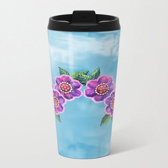 Purple Flowers II Metal Travel Mug