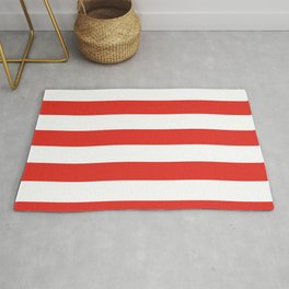 rayures blanches et rouges 7 Rug