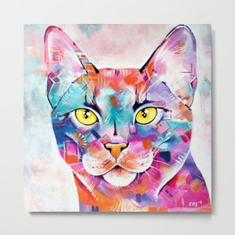 Abstract Cat Portrait - Smoke Metal Print