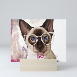 Hipster Siamese Cat Mini Art Print