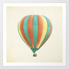 Hot Air Balloon Photography, Orange Green Yellow Colorful Nursery Photo Art Print
