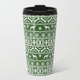 Greyhound fair isle christmas holidays pattern green and white dog gifts Travel Mug
