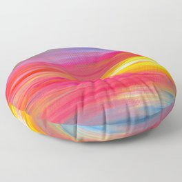 BRIGHT HORIZONS Bold Colorful Rainbow Pink Yellow Blue Abstract Painting Sunrise Sunset Stripes  Floor Pillow