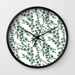 Eucalyptus leaves in white Wall Clock