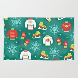 Christmas Sweaters, Ice Skates and Mittens Pattern Rug