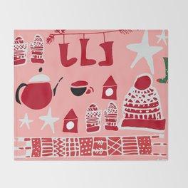 winter gear pink Throw Blanket
