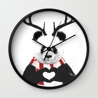 xmas Wall Clocks featuring Xmas panda by Balazs Solti