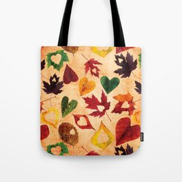 Happy autumn - hearts and leaves pattern Tote Bag