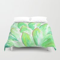 succulent Duvet Covers featuring Succulent by Hello Monday